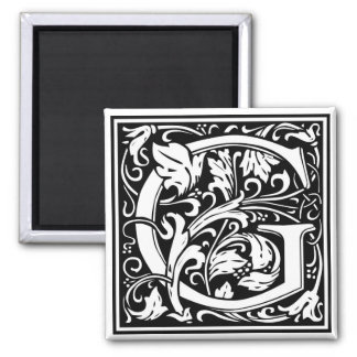 "Decorative Letter Initial ""G"" 2 Inch Square Magnet"