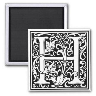 "DecorativeLetter Initial ""H"" 2 Inch Square Magnet"