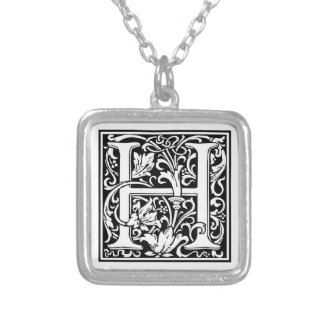 """DecorativeLetter Initial """"H"""" Silver Plated Necklace"""