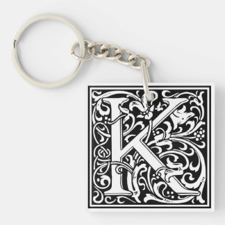 "Decorative Letter Initial ""K"" Single-Sided Square Acrylic Keychain"