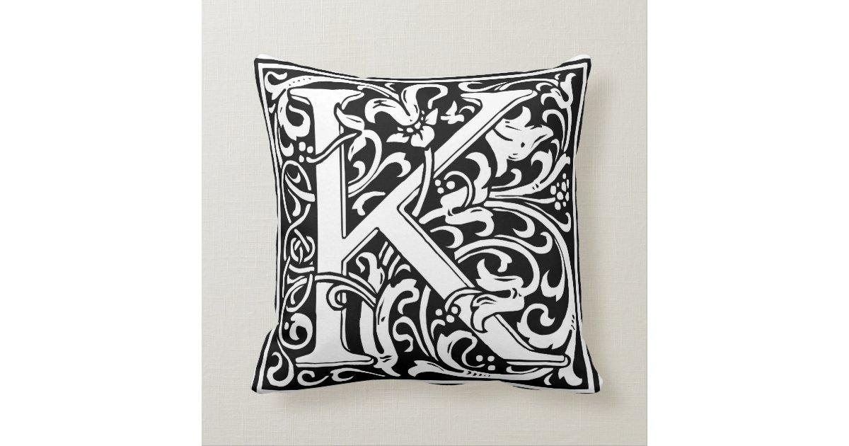 Decorative Initial Pillows : Decorative Letter Initial ?K? Throw Pillow Zazzle
