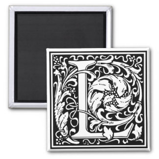 "DecorativeLetter Initial ""L"" 2 Inch Square Magnet"