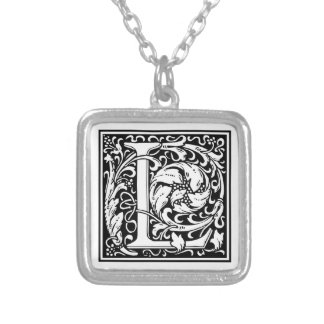 """DecorativeLetter Initial """"L"""" Silver Plated Necklace"""