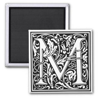 "DecorativeLetter Initial ""M"" 2 Inch Square Magnet"