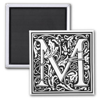 "Decorative Letter Initial ""M"" 2 Inch Square Magnet"