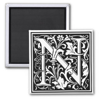 """DecorativeLetter Initial """"N"""" 2 Inch Square Magnet"""