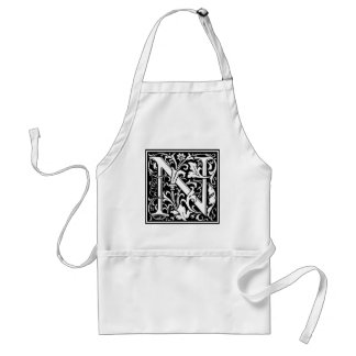 "Decorative Letter Initial ""N"" Adult Apron"