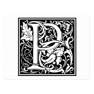 "Decorative Letter Initial ""P"" Postcard"