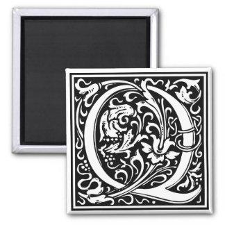 """DecorativeLetter Initial """"Q"""" 2 Inch Square Magnet"""