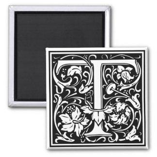 "DecorativeLetter Initial ""T"" 2 Inch Square Magnet"
