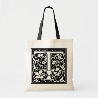 """DecorativeLetter Initial """"T"""" Tote Bags"""