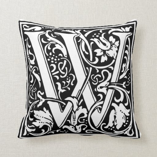 Decorative Letter Initial ?W? Throw Pillows Zazzle