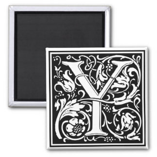 """DecorativeLetter Initial """"Y"""" 2 Inch Square Magnet"""