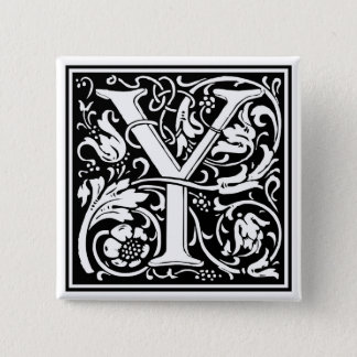 "Decorative Letter Initial ""Y"" Pinback Button"