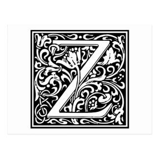 "DecorativeLetter Initial ""Z"" Postcard"