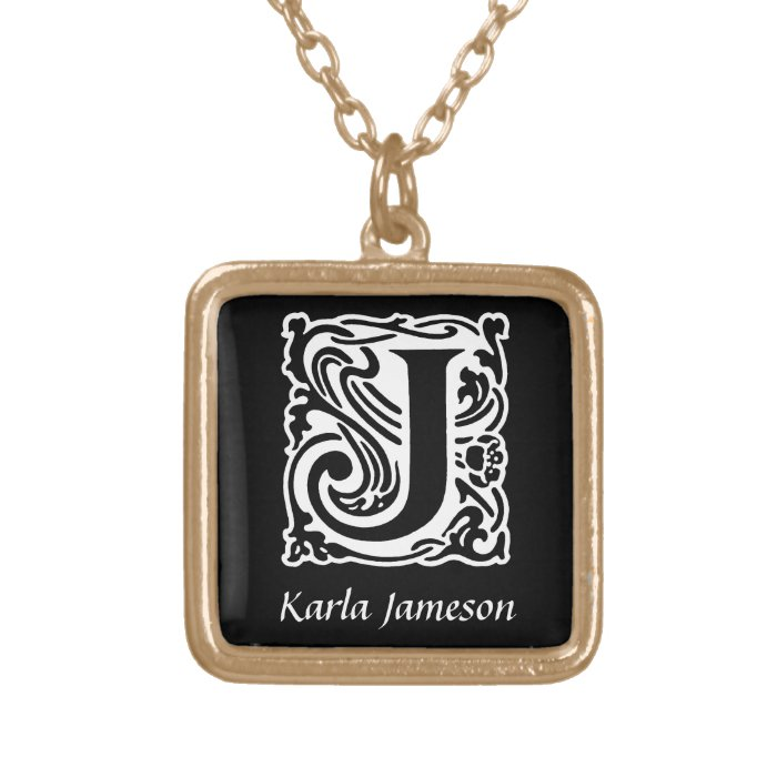 Decorative Letter J Monogram Initial Personalized Gold Plated Necklace