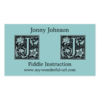 "Decorative Letter ""J"" Woodcut Woodblock Initial Double-Sided Standard Business Cards (Pack Of 100)"