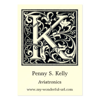 """Decorative Letter """"K"""" Woodcut Woodblock Initial Business Cards"""