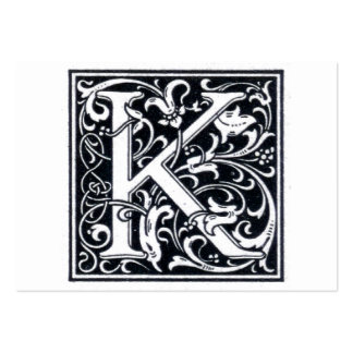 "Decorative Letter ""K"" Woodcut Woodblock Initial Large Business Cards (Pack Of 100)"