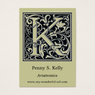 "Decorative Letter ""K"" Woodcut Woodblock Initial Business Card"