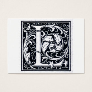 "Decorative Letter ""L"" Woodcut Woodblock Initial Business Card"