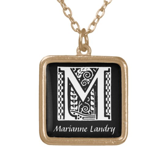 Decorative Letter M Monogram Initial Personalized Gold Plated Necklace