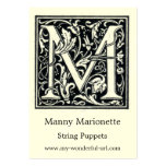 """Decorative Letter """"M"""" Woodcut Woodblock Initial Large Business Cards (Pack Of 100)"""
