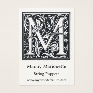 "Decorative Letter ""M"" Woodcut Woodblock Initial Business Card"