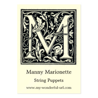 """Decorative Letter """"M"""" Woodcut Woodblock Initial Large Business Card"""