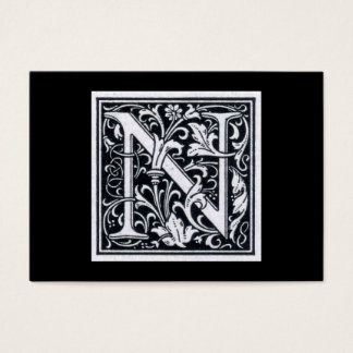 "Decorative Letter ""N Woodcut Woodblock Initial Business Card"