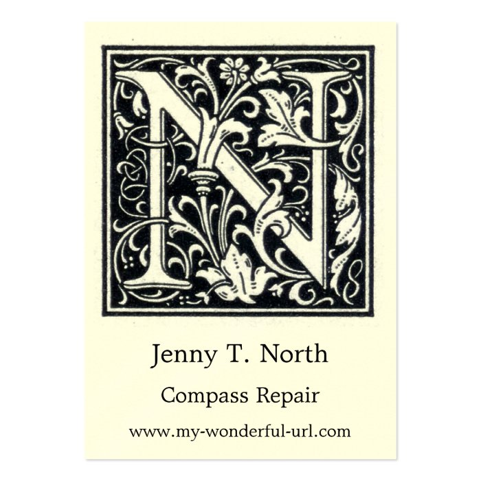 Decorative Letter N Woodcut Woodblock Initial Business Card