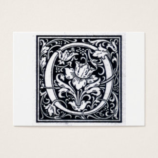 "Decorative Letter ""O"" Woodcut Woodblock Initial Business Card"