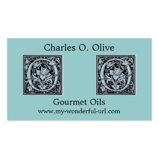 """Decorative Letter """"O"""" Woodcut Woodblock Initial Business Card Templates"""