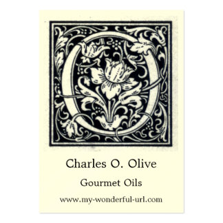 """Decorative Letter """"O"""" Woodcut Woodblock Initial Business Card Template"""