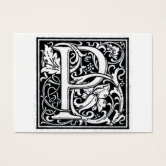 "Decorative Letter ""P"" Woodcut Woodblock Initial Business Card"