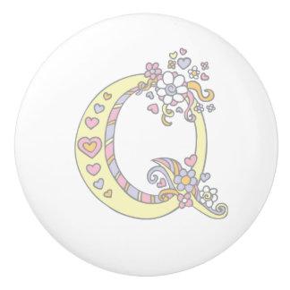 Decorative letter Q monogram handle pull knob Ceramic Knob