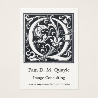 "Decorative Letter ""Q"" Woodcut Woodblock Initial Business Card"