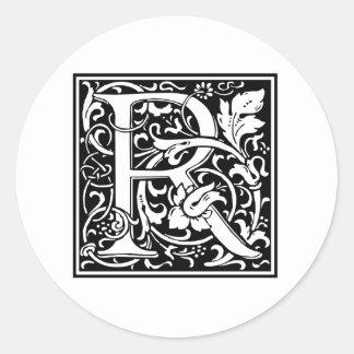 Decorative Letter R Classic Round Sticker
