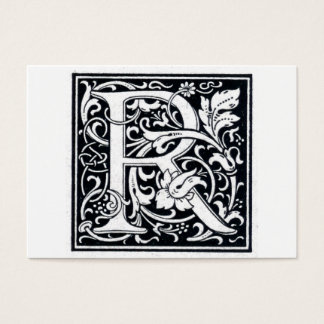 "Decorative Letter ""R"" Woodcut Woodblock Initial Business Card"