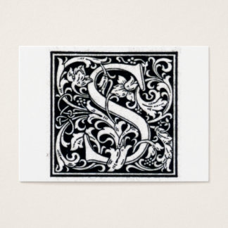 "Decorative Letter ""S"" Woodcut Woodblock Initial Business Card"