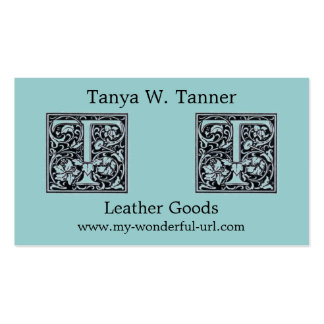 "Decorative Letter ""T"" Woodcut Woodblock Initial Double-Sided Standard Business Cards (Pack Of 100)"