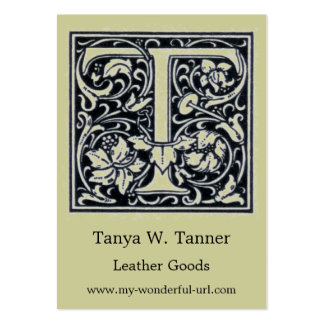 "Decorative Letter ""T"" Woodcut Woodblock Initial Large Business Cards (Pack Of 100)"