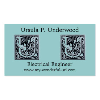 "Decorative Letter ""U"" Woodcut Woodblock Initial Double-Sided Standard Business Cards (Pack Of 100)"