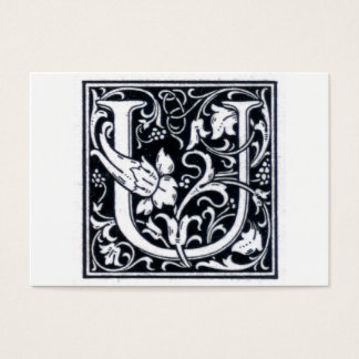 "Decorative Letter ""U"" Woodcut Woodblock Initial Business Card"