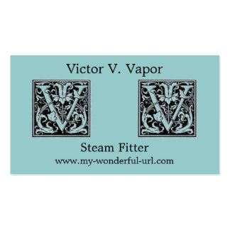 """Decorative Letter """"V"""" Woodcut Woodblock Initial Business Card"""