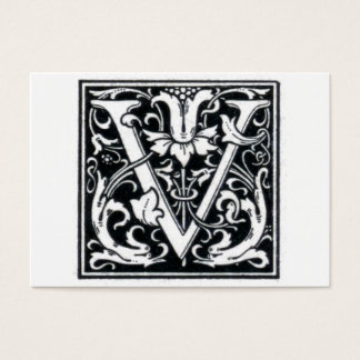 "Decorative Letter ""V"" Woodcut Woodblock Initial Business Card"
