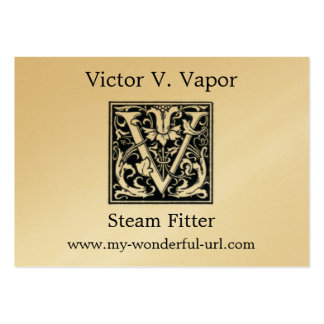 """Decorative Letter """"V"""" Woodcut Woodblock Initial Large Business Card"""