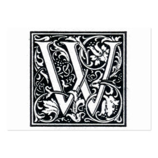 "Decorative Letter ""W"" Woodcut Woodblock Initial Business Card Templates"