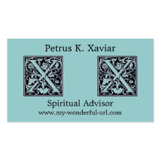 "Decorative Letter ""X"" Woodcut Woodblock Initial Double-Sided Standard Business Cards (Pack Of 100)"