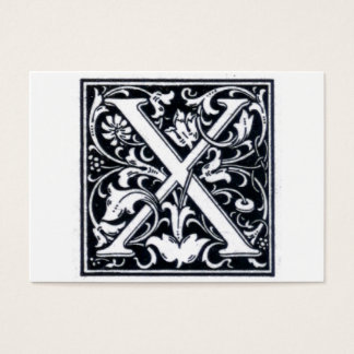 "Decorative Letter ""X"" Woodcut Woodblock Initial Business Card"